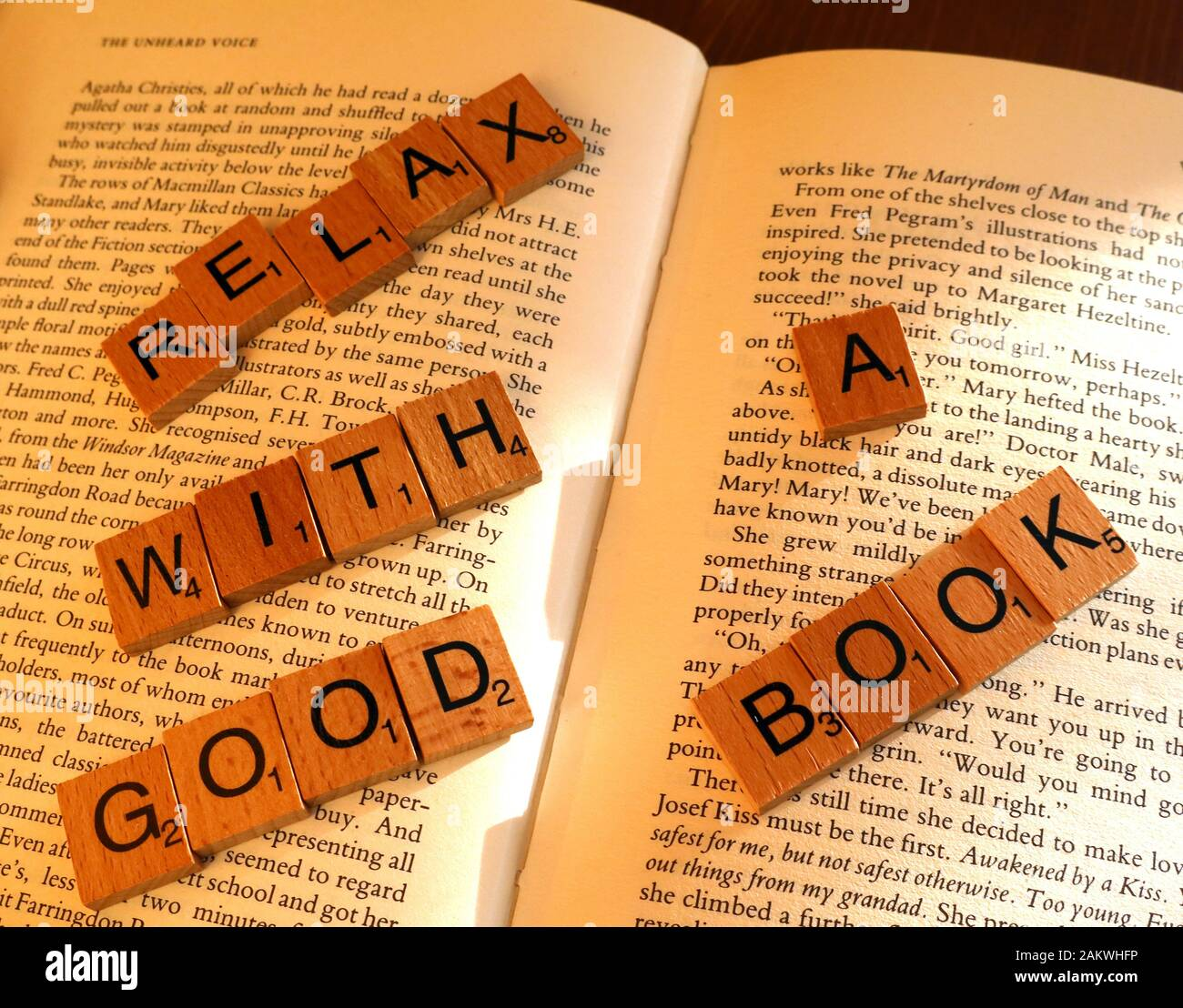 Relax with a good book, promotion of reading and physical books Stock Photo