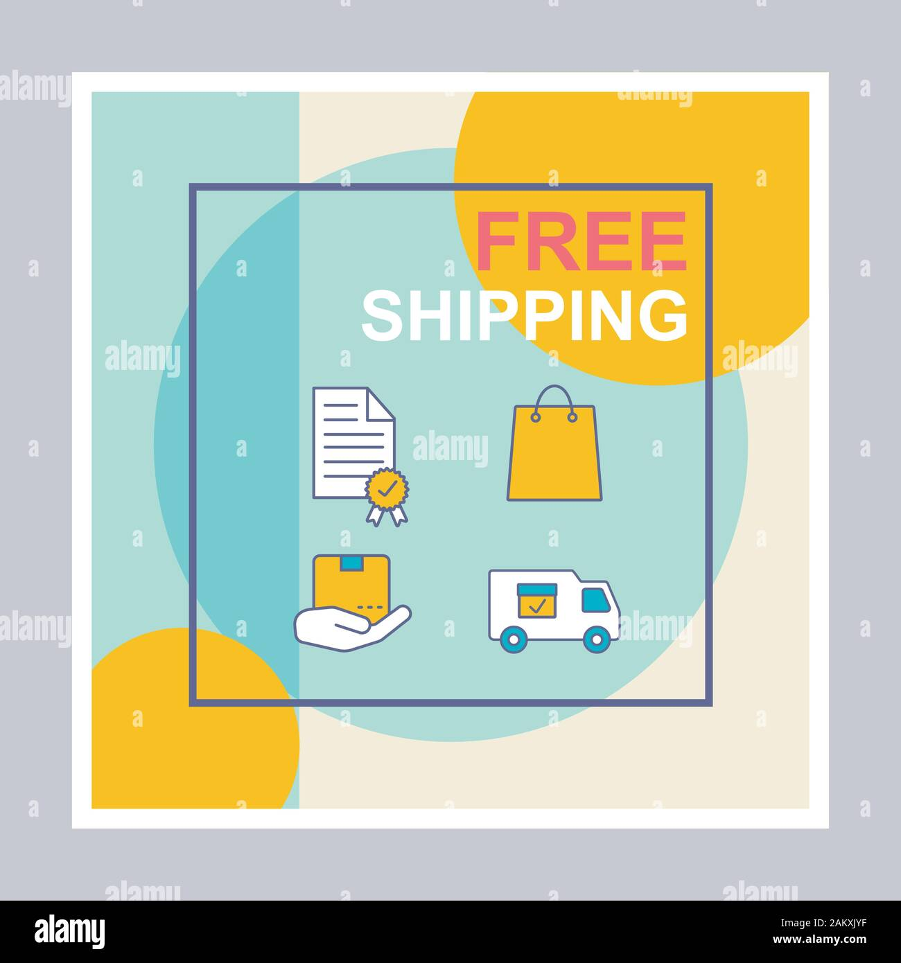 Free Shipping Social Media Posts Mockup Parcel Delivery Advertising Web Banner Design Template Social Media Booster Content Layout Isolated Promo Stock Vector Image Art Alamy
