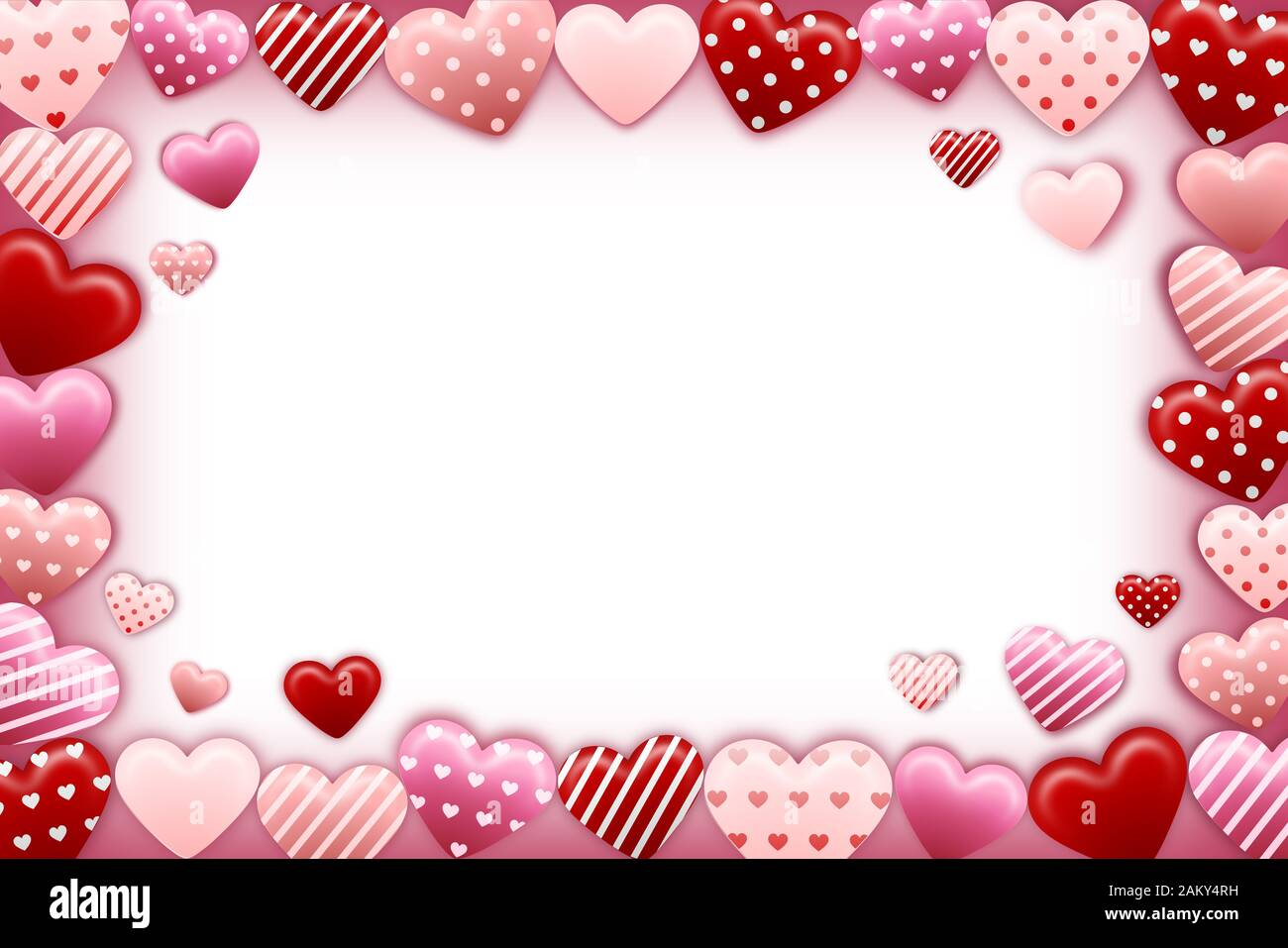 pink and red Valentine\u2019s Day hearts 4x6 picture frame