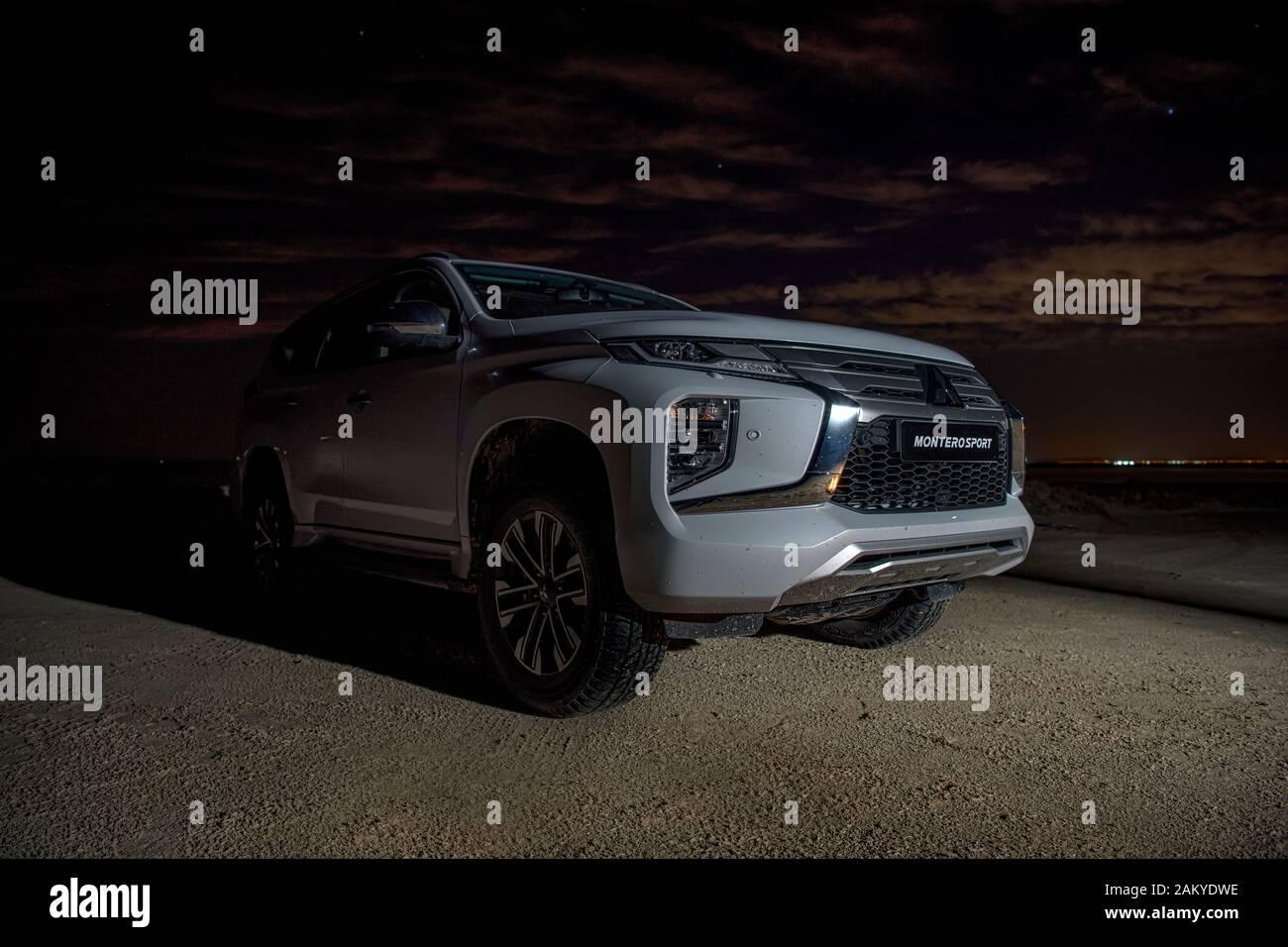 Mitsubishi Montero Sport Suv 4x4 Urban Vehicle Front View Camping In Desert Stock Photo Alamy