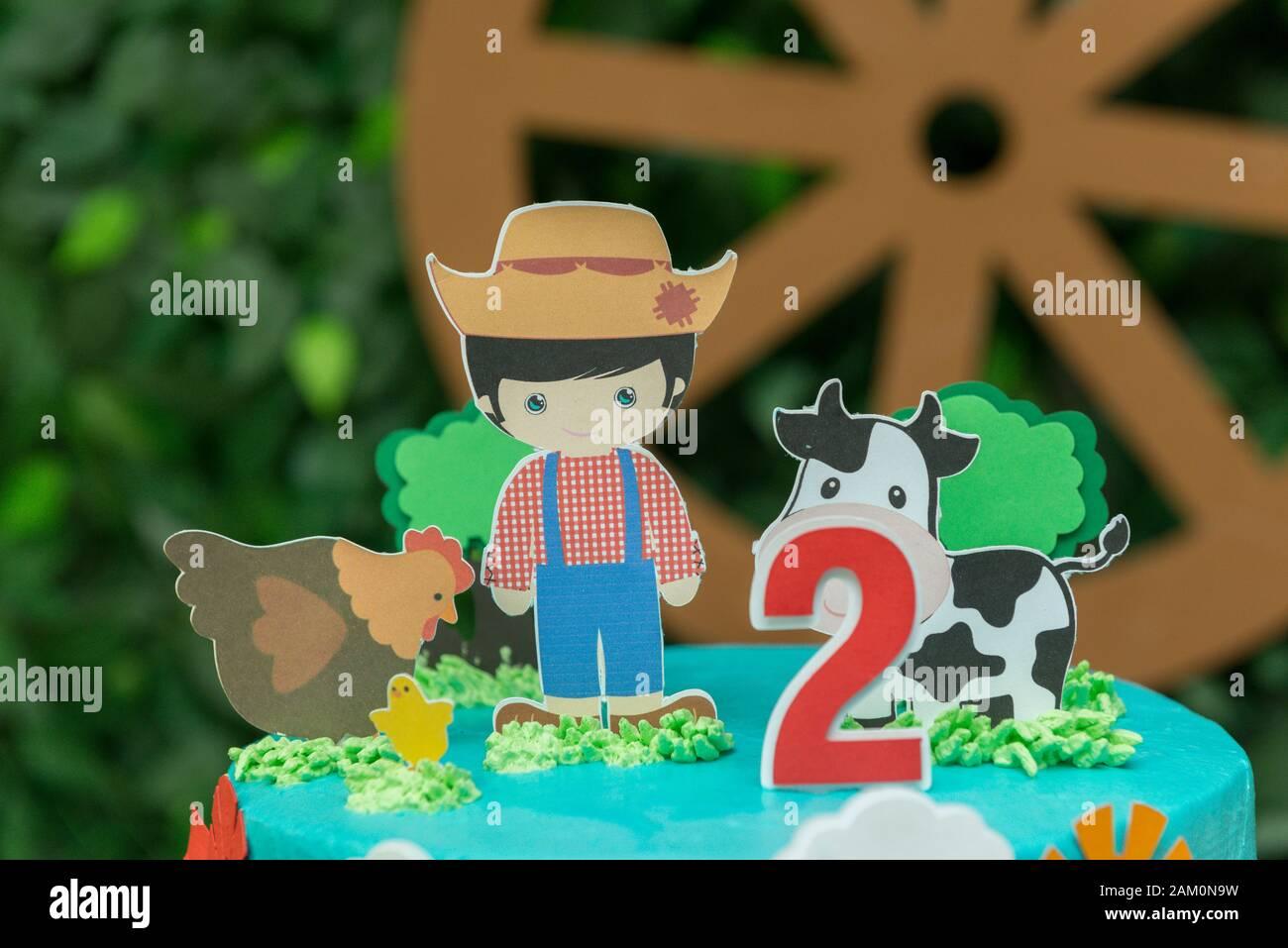 Awesome Close Up Of Farm Theme Boy Birthday Cake Beautiful Decorated Cake Personalised Birthday Cards Veneteletsinfo