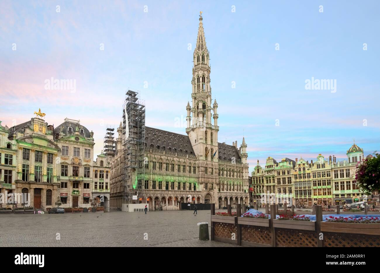 The Grand Place Markt Square in the old town center of Brussels, Belgium, early in the morning. Stock Photo