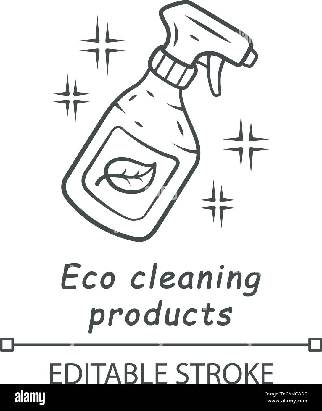 Eco cleaning products linear icon. Chemicals free spray bottle. Organic, eco friendly cleaning product. Thin line illustration. Contour symbol. Vector Stock Vector