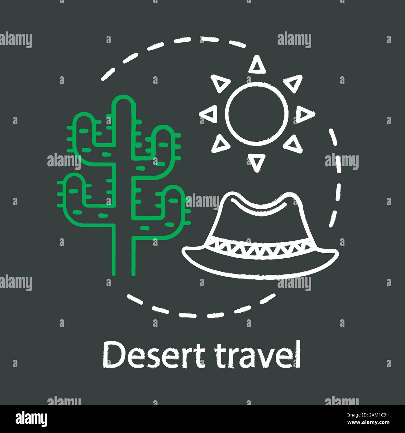 Desert Travel Chalk Concept Icon Travel Experience Idea Extreme Tourism Wild Animals And Plants Observation Succulents Vector Isolated Chalkboard Stock Vector Image Art Alamy