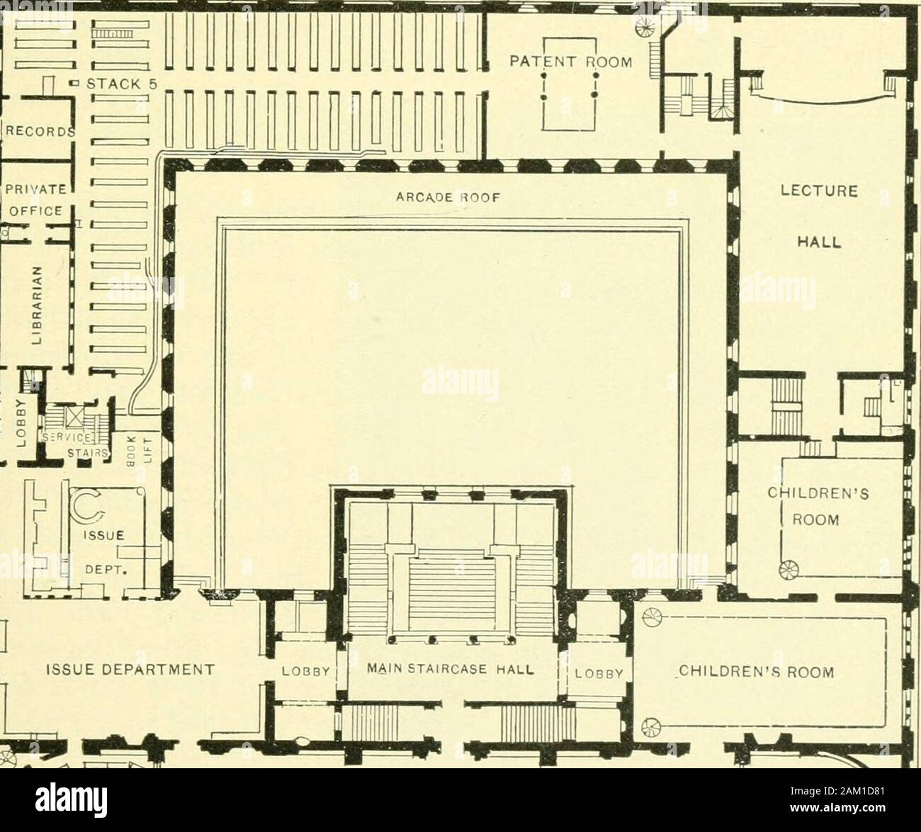 Pictorial guide to Boston and the country around .. . caa^ft CO. CENTRAL LIBRARY. GROUND FLOOR. THE PUBLIC LIBRARY. 9 The Library is two hundred and twenty-five feet long, two hun-dred and twenty-seven feet deep. Its height from the sidewalkto the top of the cornice is seventy feet. The material used isMilford granite. In color this granite is a grayish white, which,in some lights, becomes faintly tinged with pink. The Library isin the Italian Rennaissance style of architecture, is quadrangularin shape and surrounds an inner court. The chief characteristicsof the building are its simplicity an Stock Photo