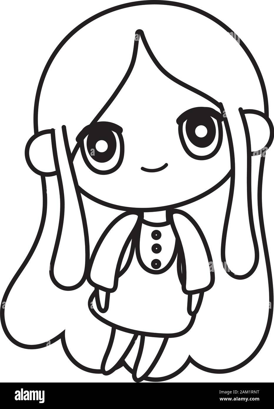 Kids Cute Little Girl Anime Cartoon Character Vector Illustration