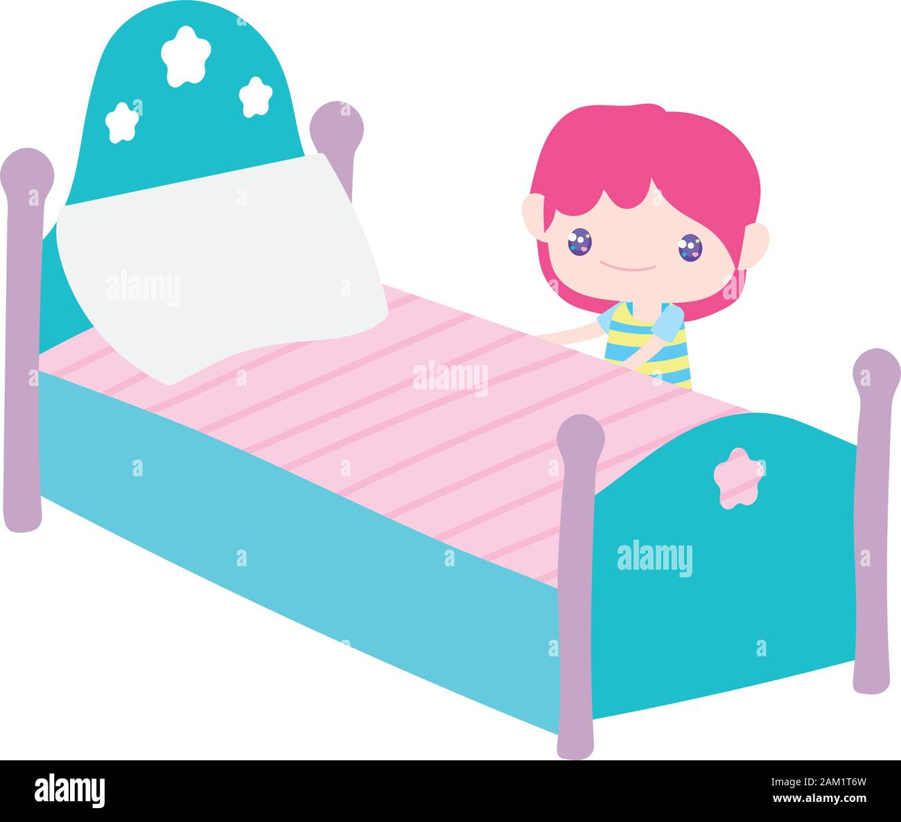 https www alamy com cute little boy cartoon and bed with pillow vector illustration image339331073 html