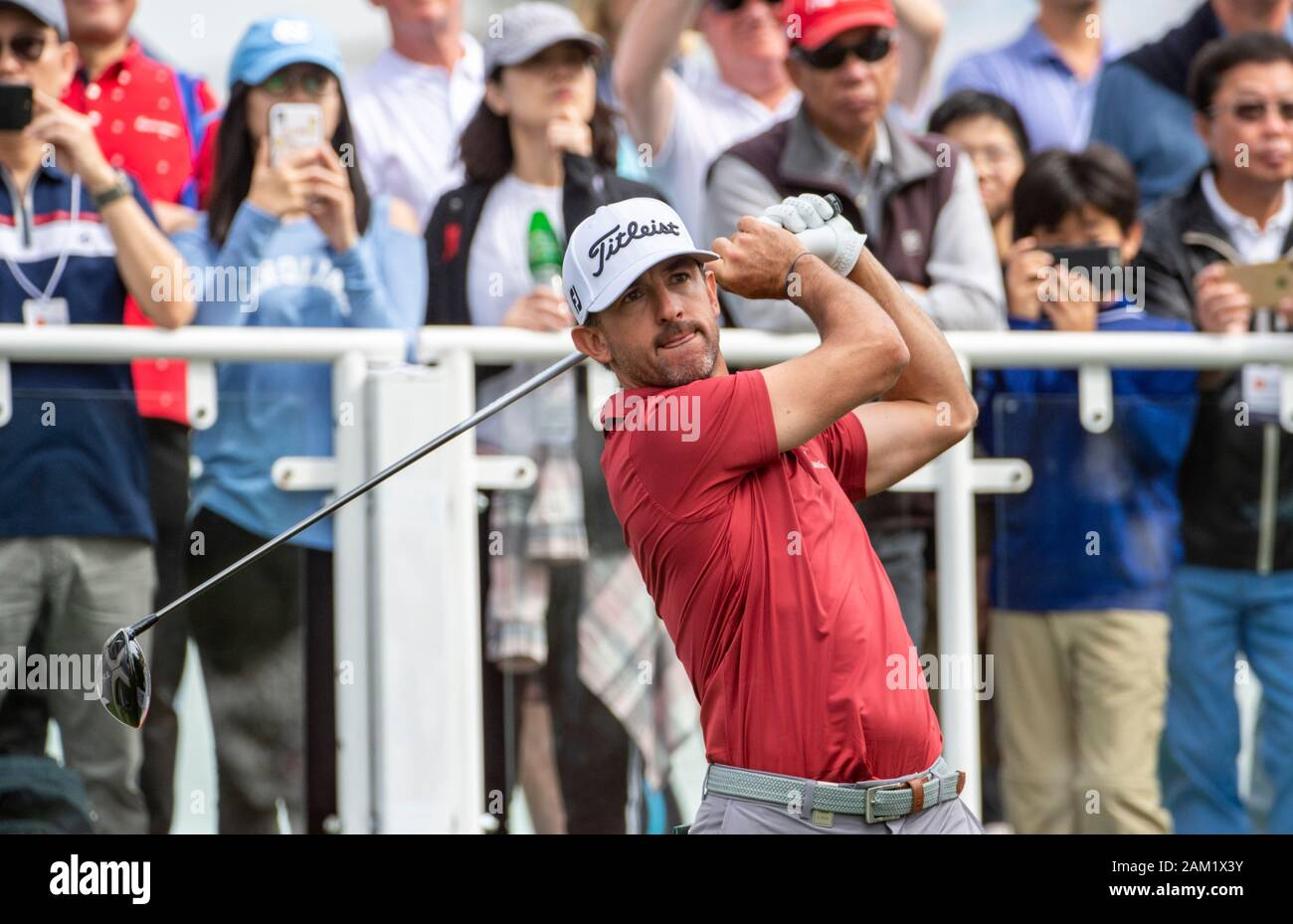 Hong Kong. 11th Jan, 2020. FANLING, HONG KONG SAR: JANUARY 10th 2020. Hong Kong Open Golf Round 3. Wade Ormsby of Australia holds the lead on day 3 of the tournament. Ormsby on the 1st tee.Alamy Live news/Jayne Russell Stock Photo