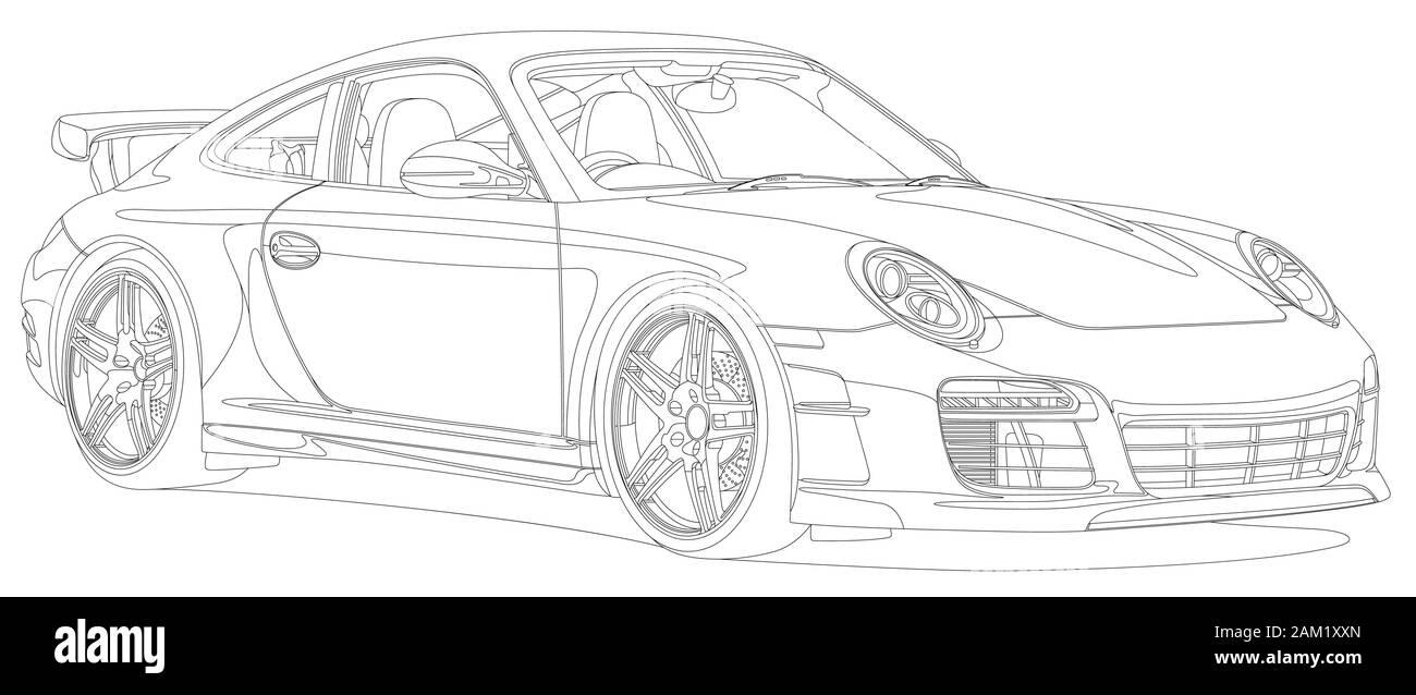 Line Art Sport Car Black And White Stock Vector Image Art Alamy