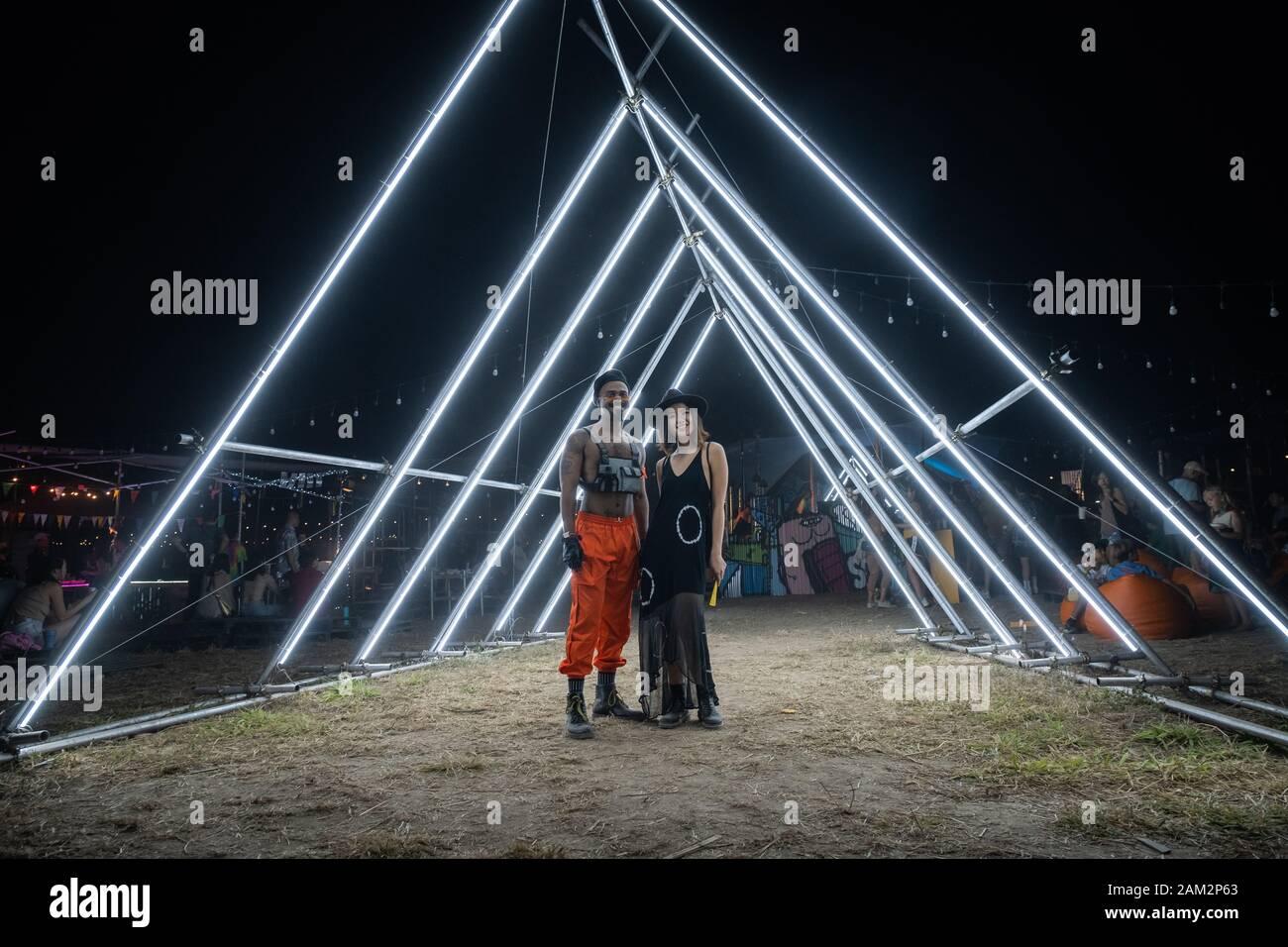 PATTAYA, THAILAND - DECEMBER 15: People during wonderfruit 2019 festival, asian burning man on December 15, 2019 in Pattaya, Thailand. Stock Photo