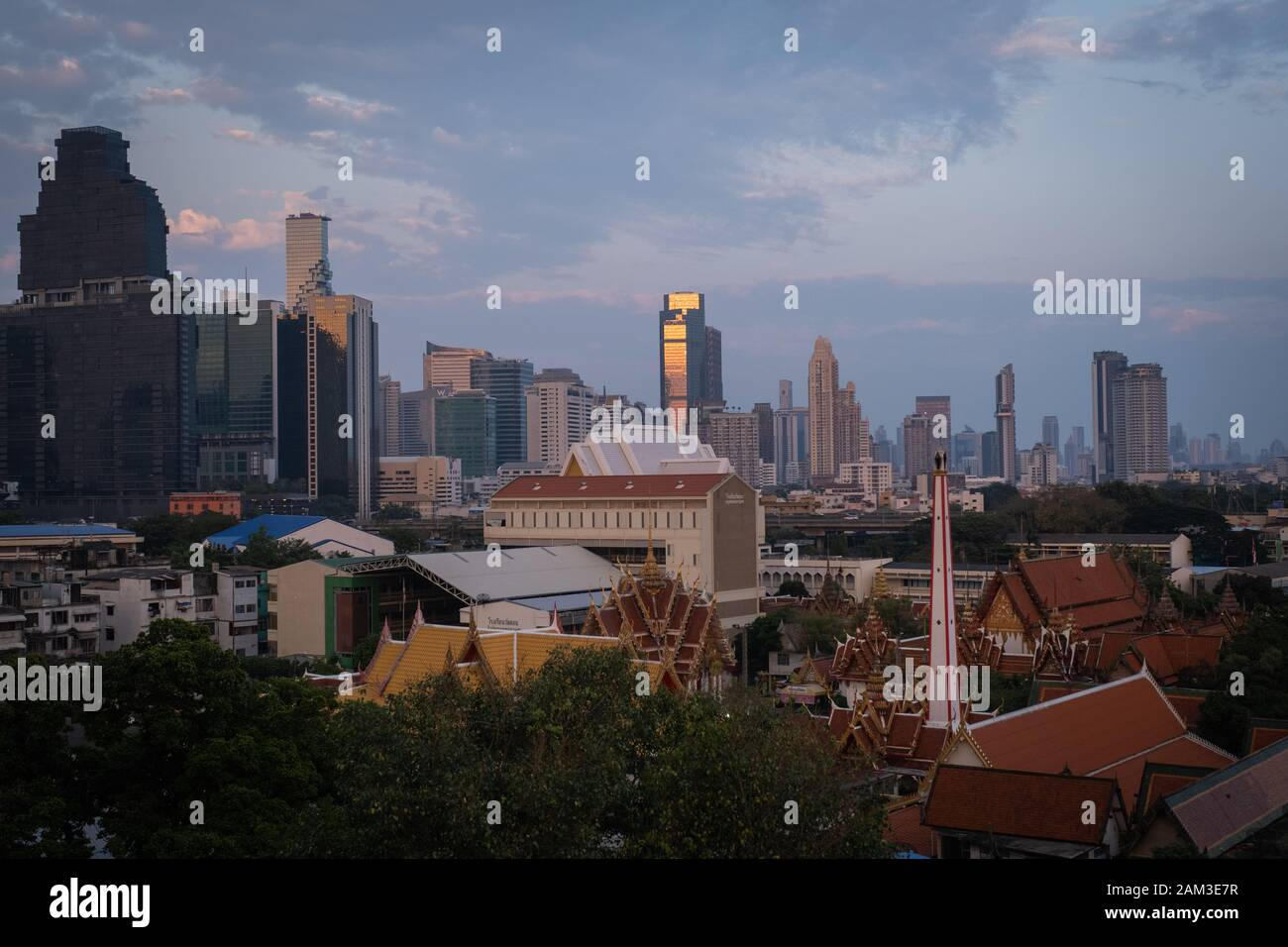 BANGKOK, THAILAND - DECEMBER : Sunset from city rooftop. Stock Photo