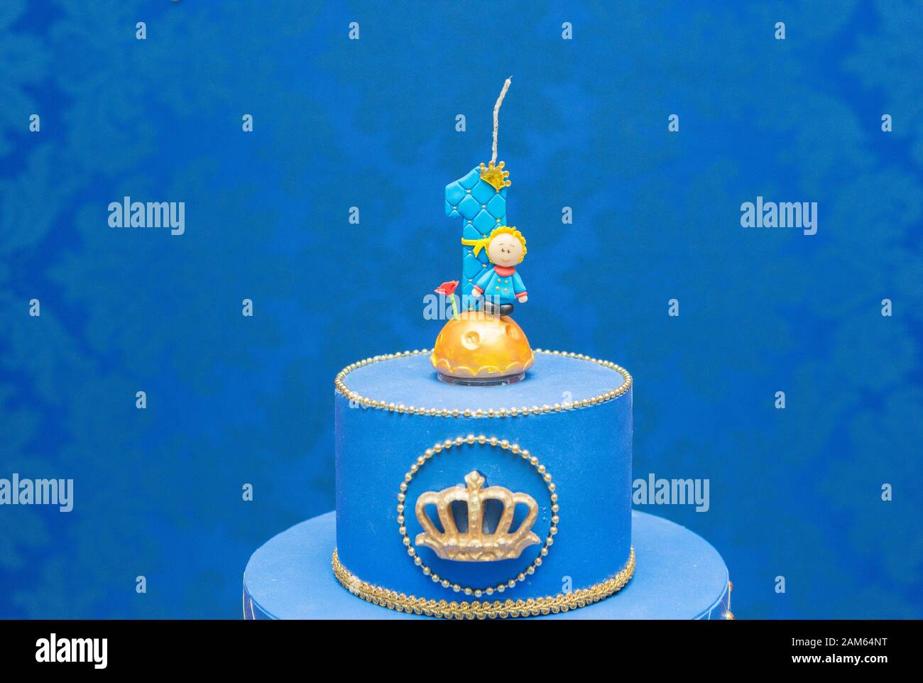 Sensational Number One Candle On A Blue Background Little Prince Theme Fake Personalised Birthday Cards Fashionlily Jamesorg
