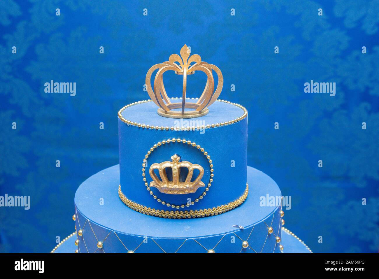 Fine Fake Blue Birthday Cake With A Crown On Top Stock Photo 339427160 Birthday Cards Printable Benkemecafe Filternl