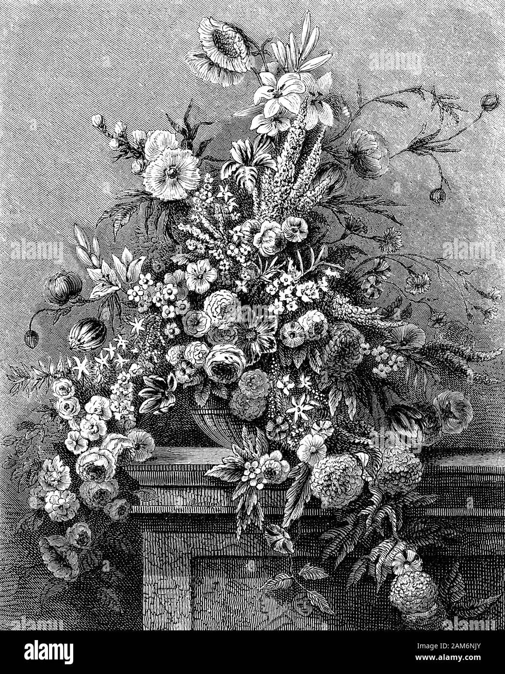 Beautiful still life composition of summer flowers  like in a Flemish painting Stock Photo