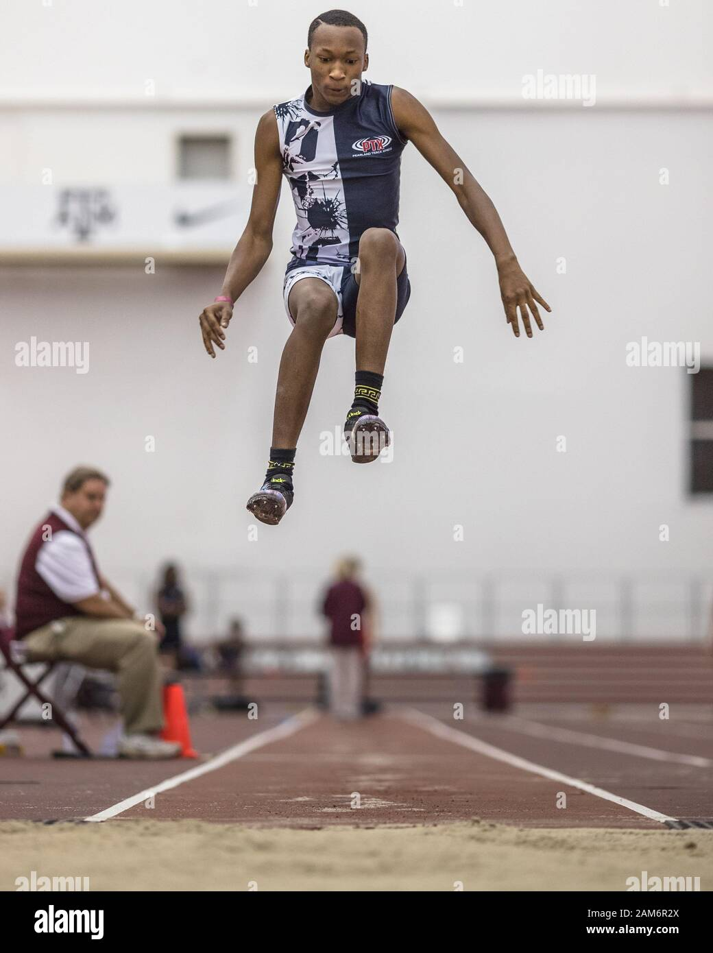 College Station, Texas, USA. 11th Jan, 2020. Nolen Richie competes in the Boys triple jump during the Texas A&M High School Indoor Classic at the McFerrin Athletic Center's Gilliam Indoor Stadium in College Station, Texas. Prentice C. James/CSM/Alamy Live News Stock Photo