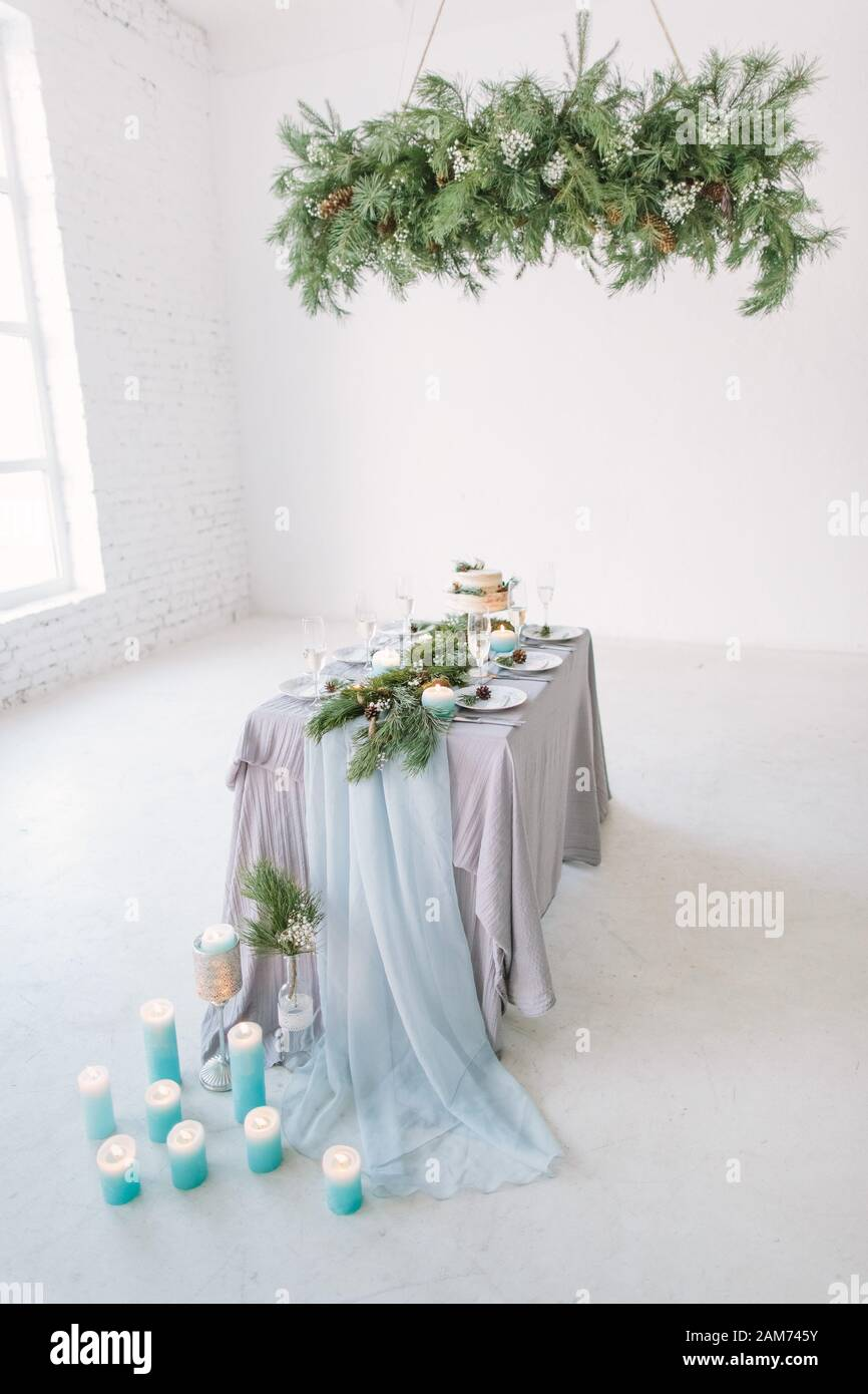 Modern Interior Design Beautiful Vintage Dining Table With Decorations Flowers Candles And Laying Near The Window Loft Botanic Rustic Style Stock Photo Alamy