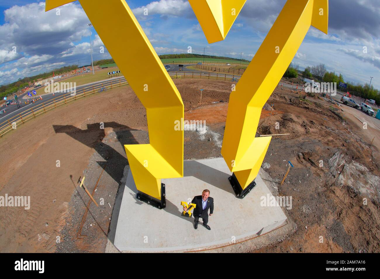Welcome To Yorkshire CEO Sir Gary Verity, at the installation of the Welcome To Yorkshire 'Y' Sculpture  located at Parrots Corner in Doncaster. Stock Photo