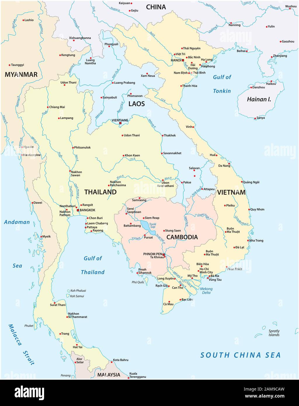 Map Of Cambodia Vietnam Thailand Laos High Resolution Stock Photography And Images Alamy