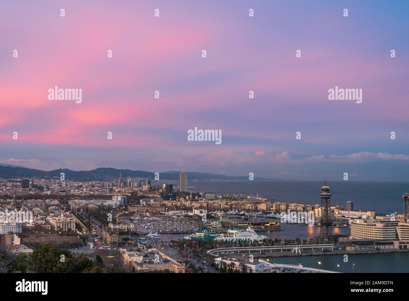 Sunset Of Incredible Colors In Barcelona Stock Photo Alamy