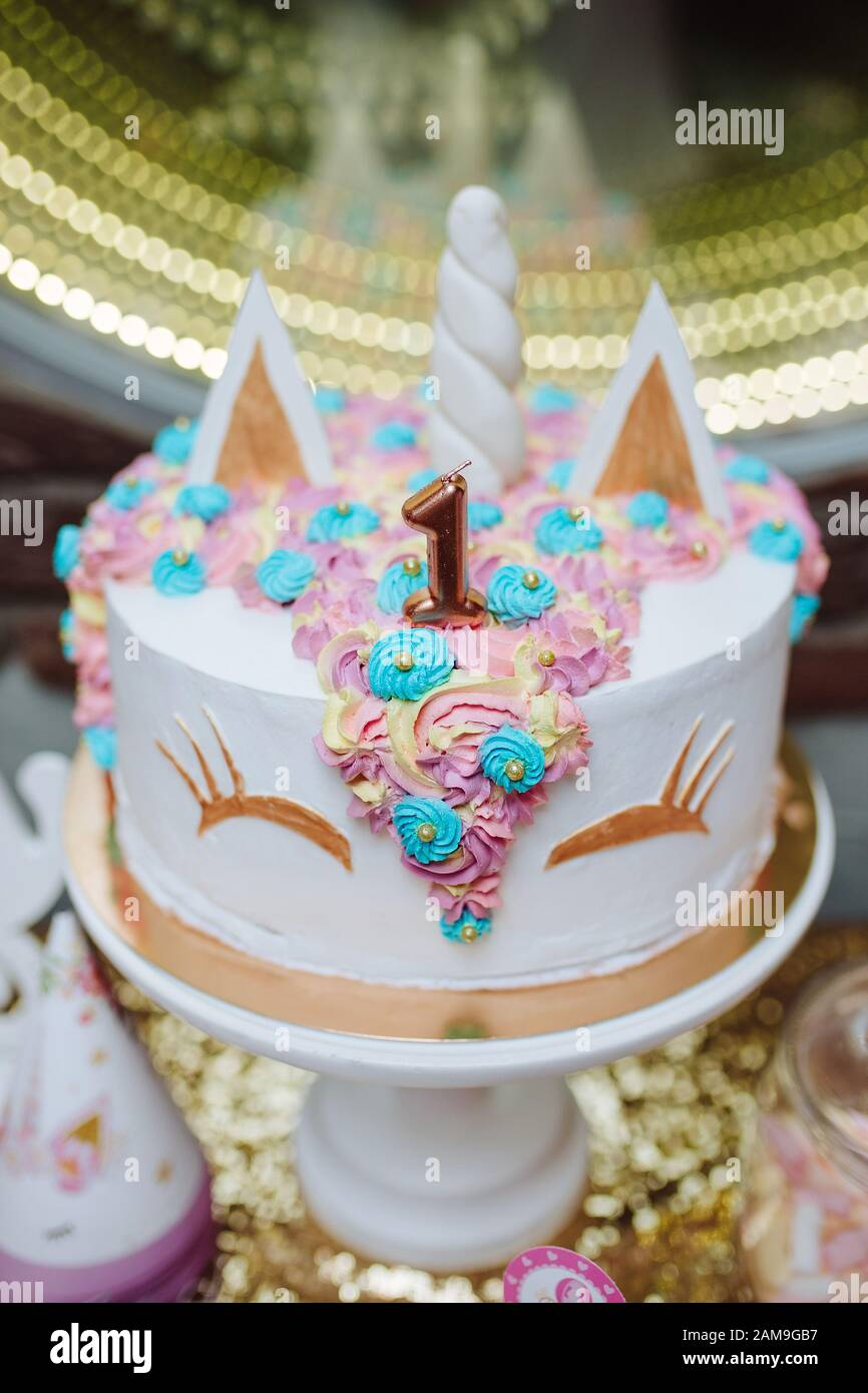 Surprising Unicorn Birthday Cake For 1 Year Old Stock Photo 339500539 Alamy Funny Birthday Cards Online Alyptdamsfinfo