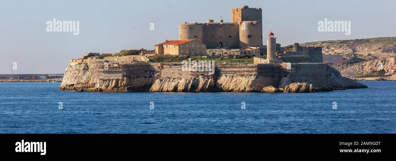 the chateau d'if on the island in front of city of Marseille Stock Photo
