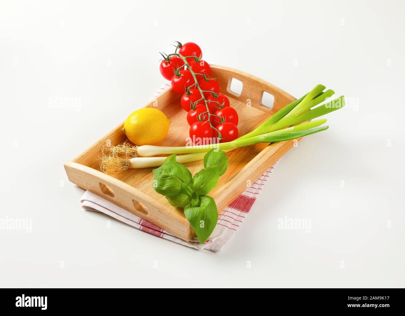 Fresh Vegetables And Lemon On Wooden Serving Tray Stock Photo Alamy
