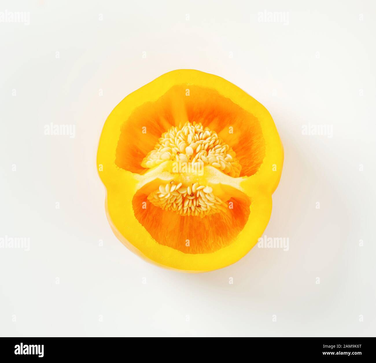 Cross section of yellow bell pepper Stock Photo