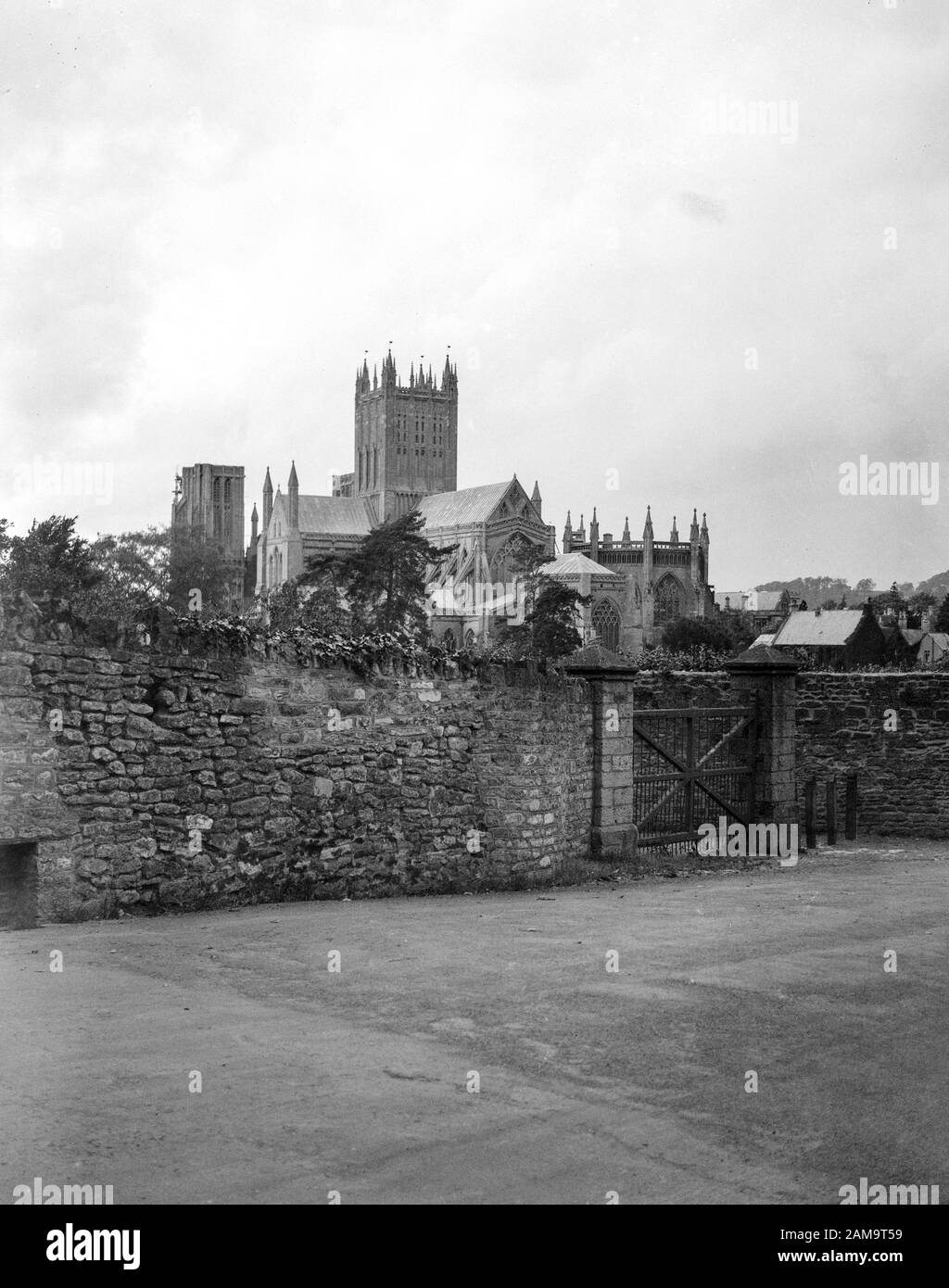 Archive image circa 1925-30 of Wells Cathedral, Somerset, taken from Tor Street. Scanned directly from the original negative. Stock Photo