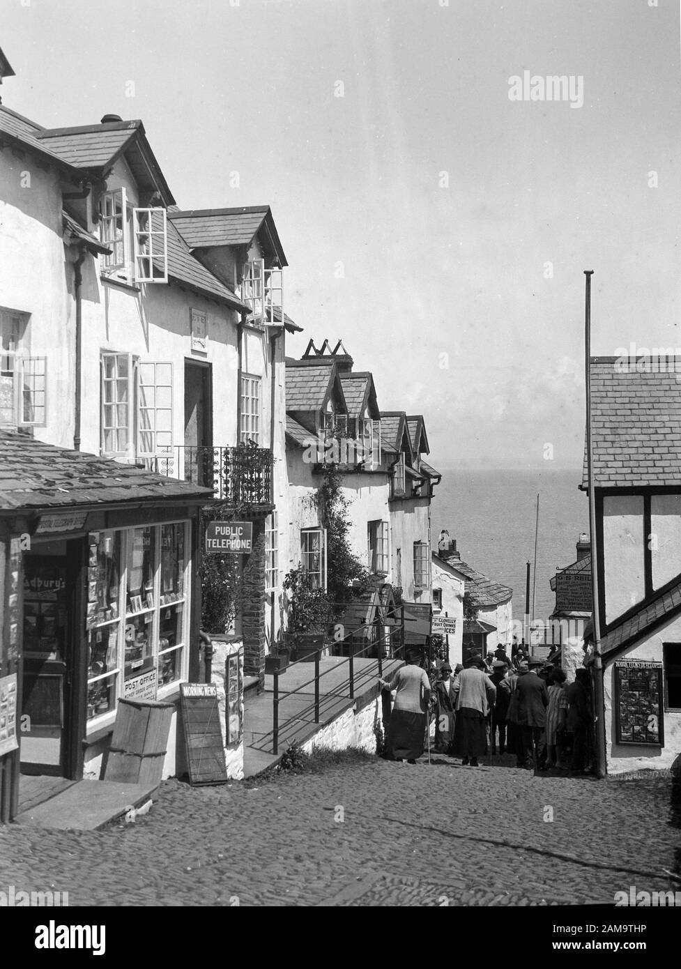 Archive image circa 1920s of Clovelly High Street, Devon, UK. Scanned from original negative Stock Photo