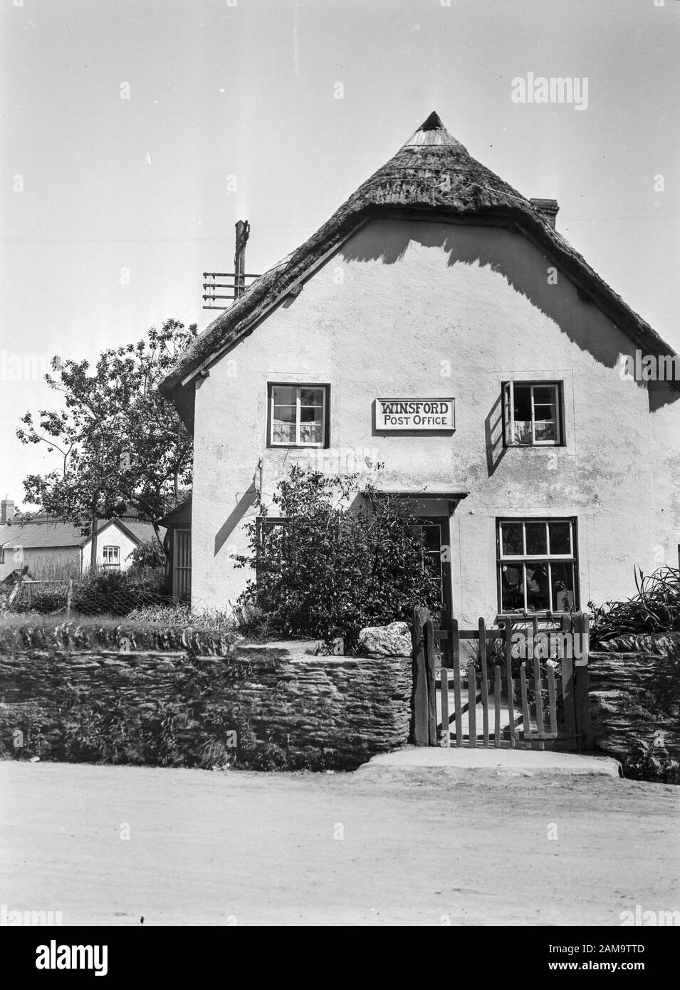 Archive image circa 1925 of Winsford village Post Office in Exmore, Somerset, UK. Scanned from the original negative Stock Photo