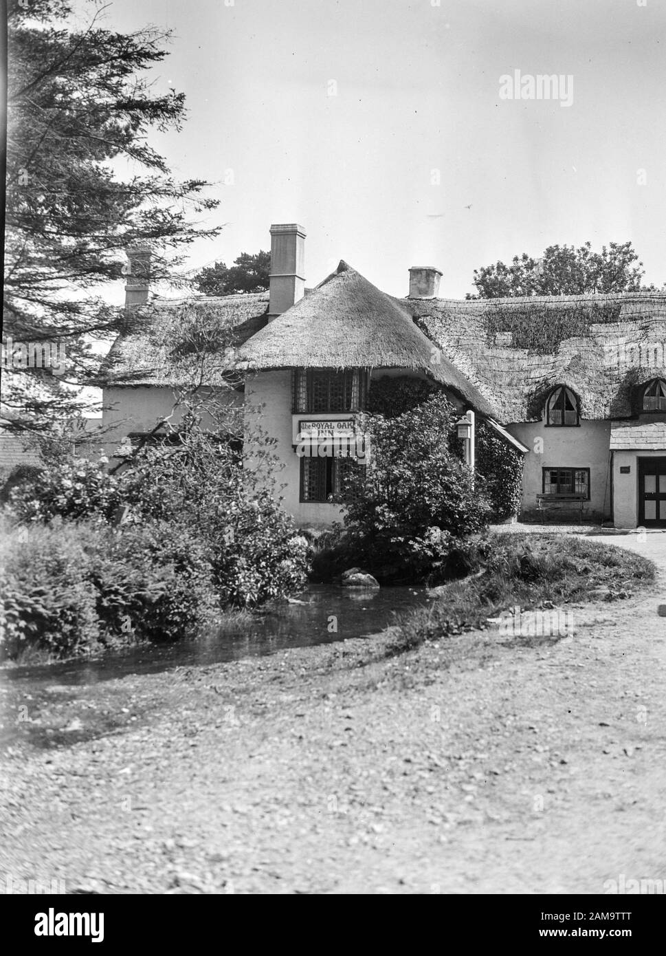 Archive image circa 1925 of The Royal Oak Inn, Winsford village in Exmore, Somerset, UK. Scanned from the original negative Stock Photo