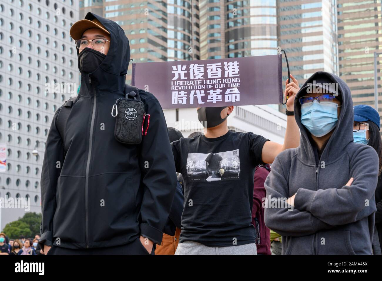 January 12 2020 Central Hong Kong. Karma to Commies Rally Stock Photo