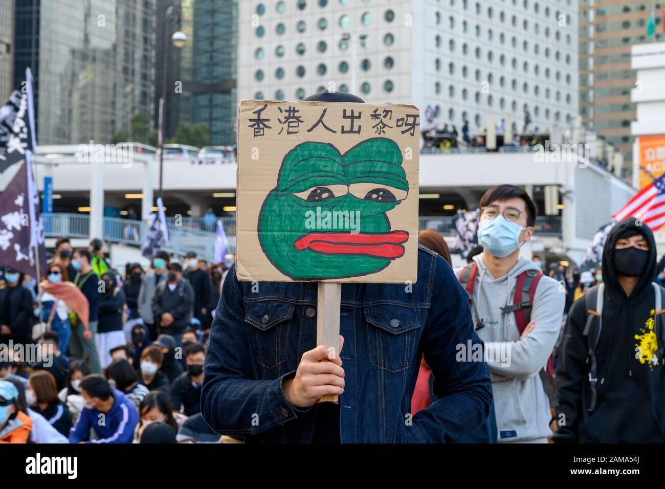 January 12 2020 Central Hong Kong. Karma to Commies Rally Stock Photo