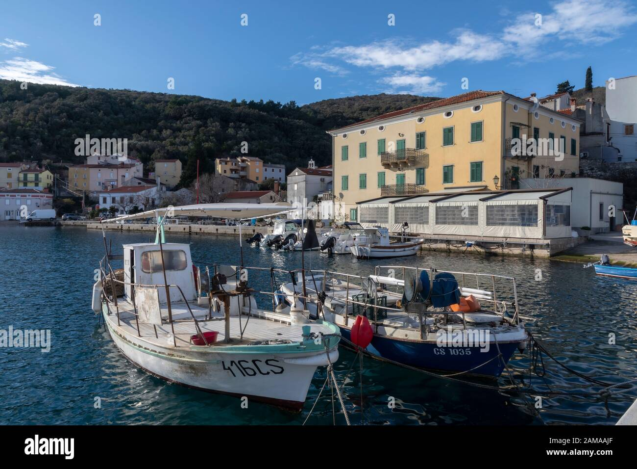 Valun, Island Cres, Croatia - January 1, 2020:  old town and port of Valun.It´s a small fishing village on the island Cres in the kvarner gulf in croa Stock Photo