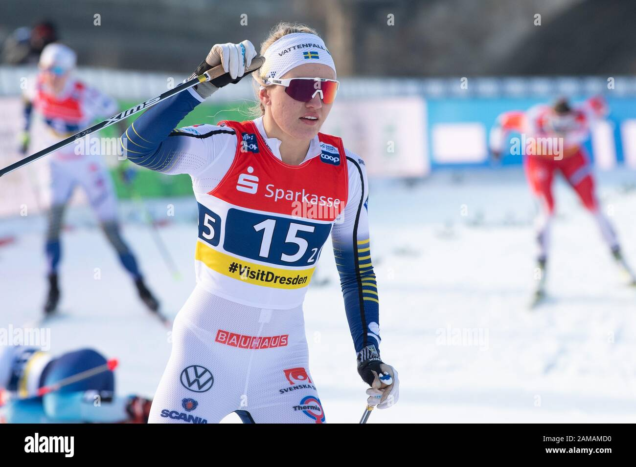 Dresden Germany 12th Jan 2020 Cross Country World Cup Team Sprint Freestyle Final Women Linn Svahn From Sweden Reacts At The Finish Credit Sebastian Kahnert Dpa Zentralbild Dpa Alamy Live News Stock Photo Alamy
