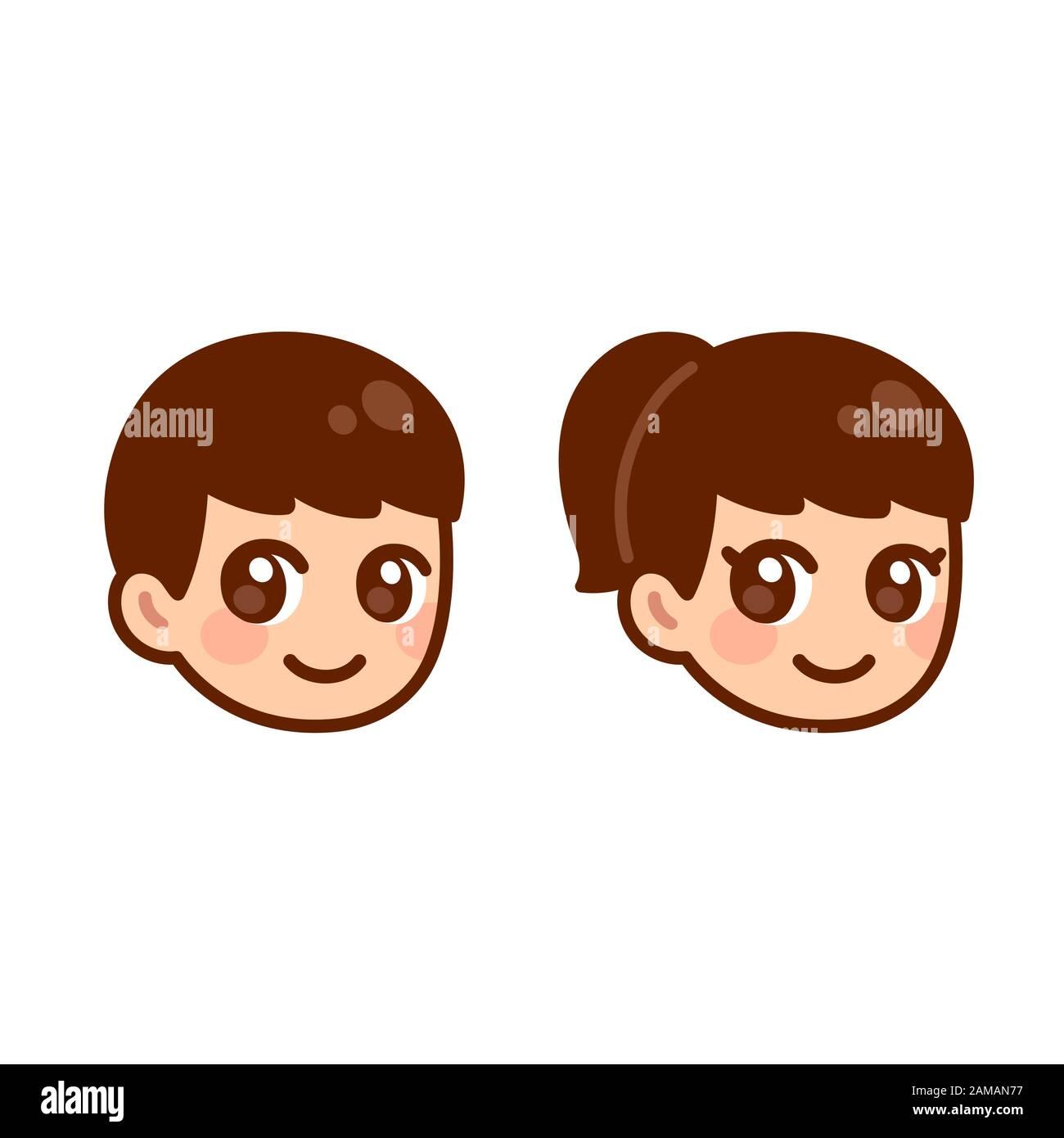 Anime Boy And Girl cute anime boy and girl head, children face set. anime style