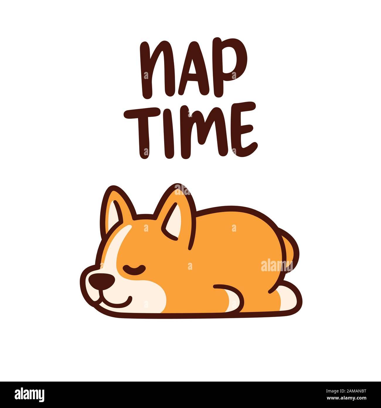 Cute Cartoon Corgi Puppy Sleeping With Text Nap Time Adorable Sleeping Dog Drawing Vector Illustration Stock Vector Image Art Alamy