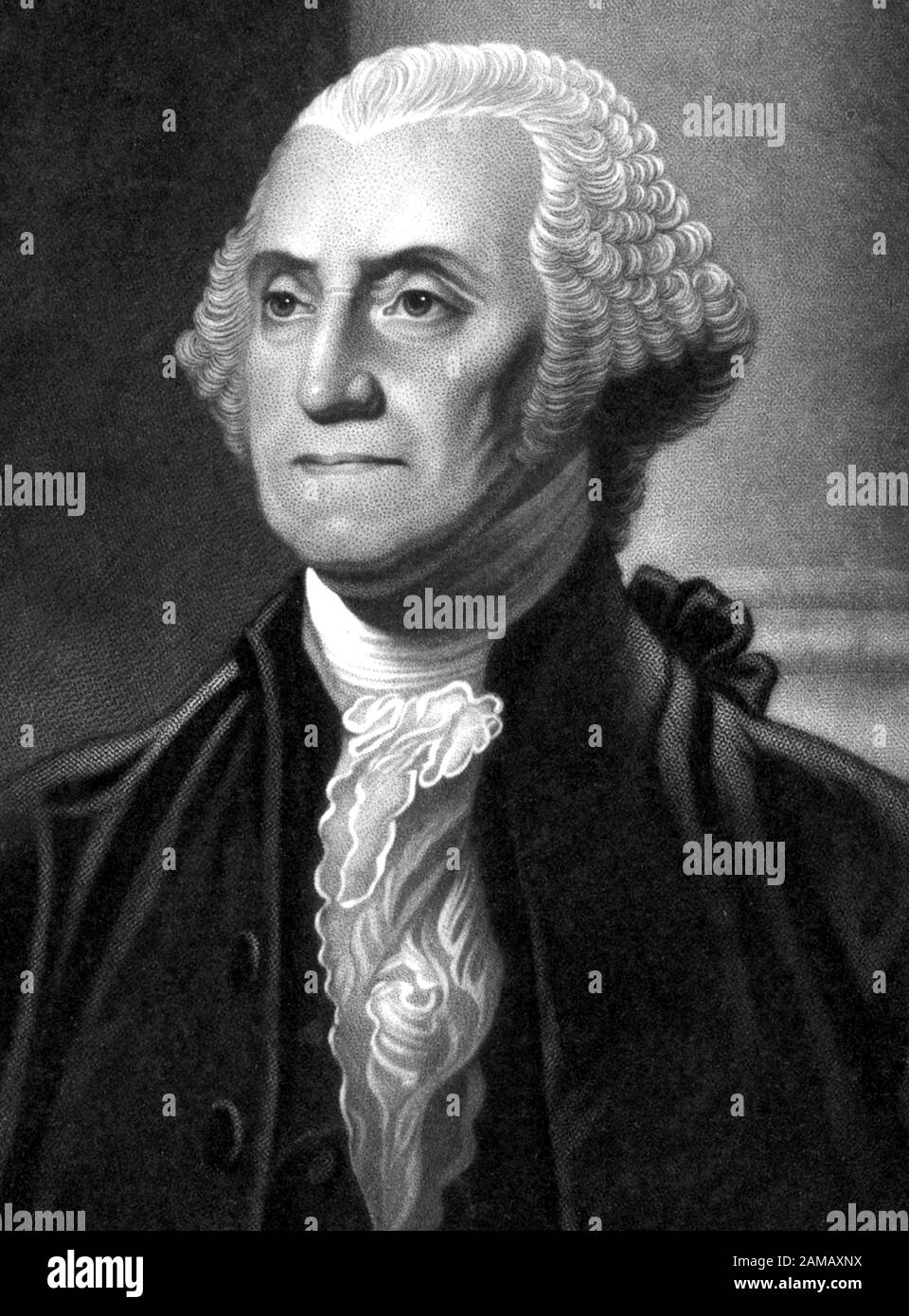Vintage portrait of George Washington (1732 - 1799) – Commander of the Continental Army in the American Revolutionary War / War of Independence (1775 – 1783) and the first US President (1789 - 1797). Detail from a print circa 1844 by John Neale, from an engraving by Henry S Sadd based on a painting by artist Gilbert Stuart (1755 – 1828). Stock Photo