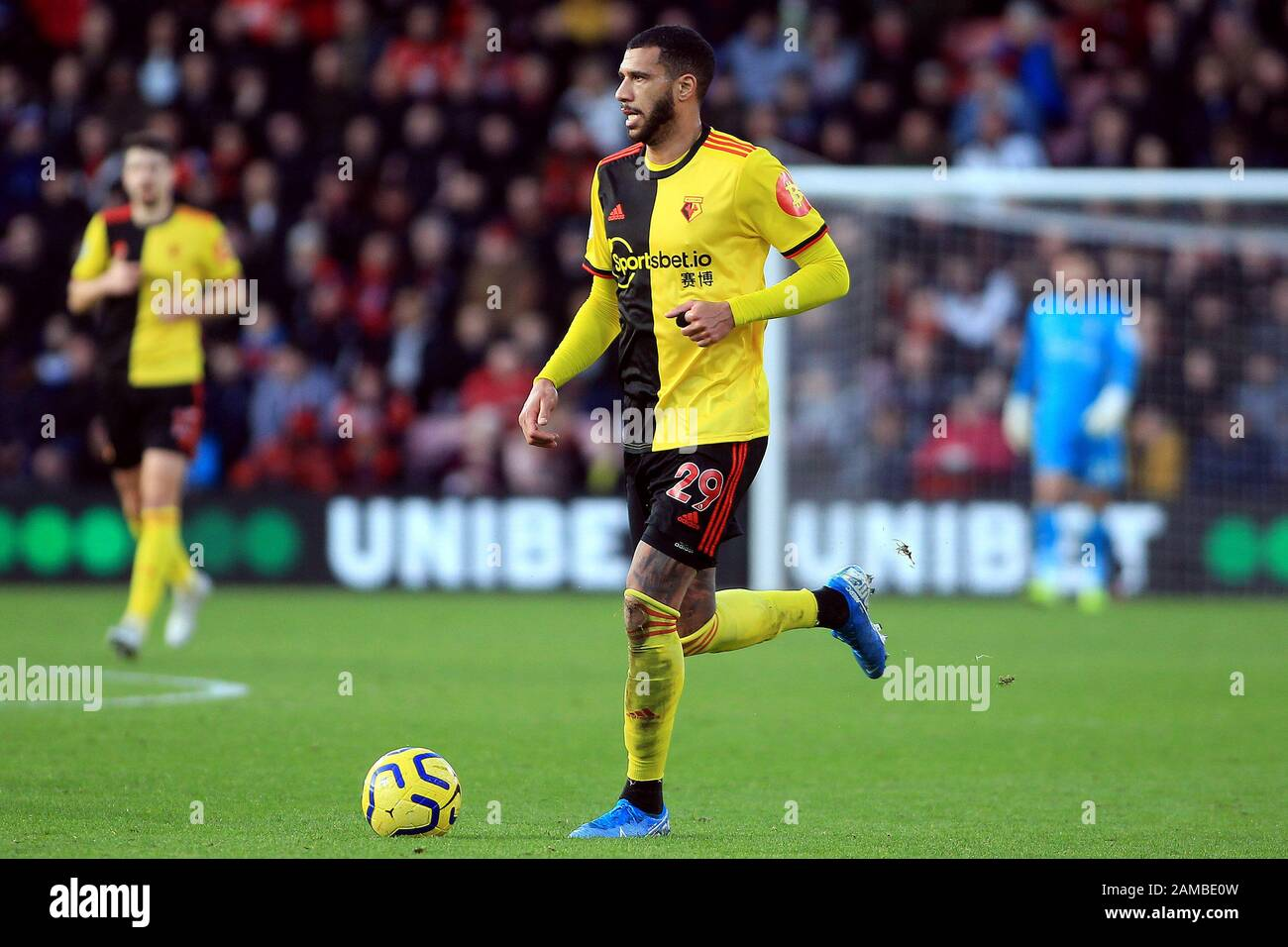 Bournemouth, UK. 12th Jan, 2020. Etienne Capoue of Watford In action. Premier League match, AFC Bournemouth v Watford at the Vitality Stadium in Bournemouth, Dorset on Sunday 12th January 2020. this image may only be used for Editorial purposes. Editorial use only, license required for commercial use. No use in betting, games or a single club/league/player publications. pic by Steffan Bowen/ Credit: Andrew Orchard sports photography/Alamy Live News Stock Photo