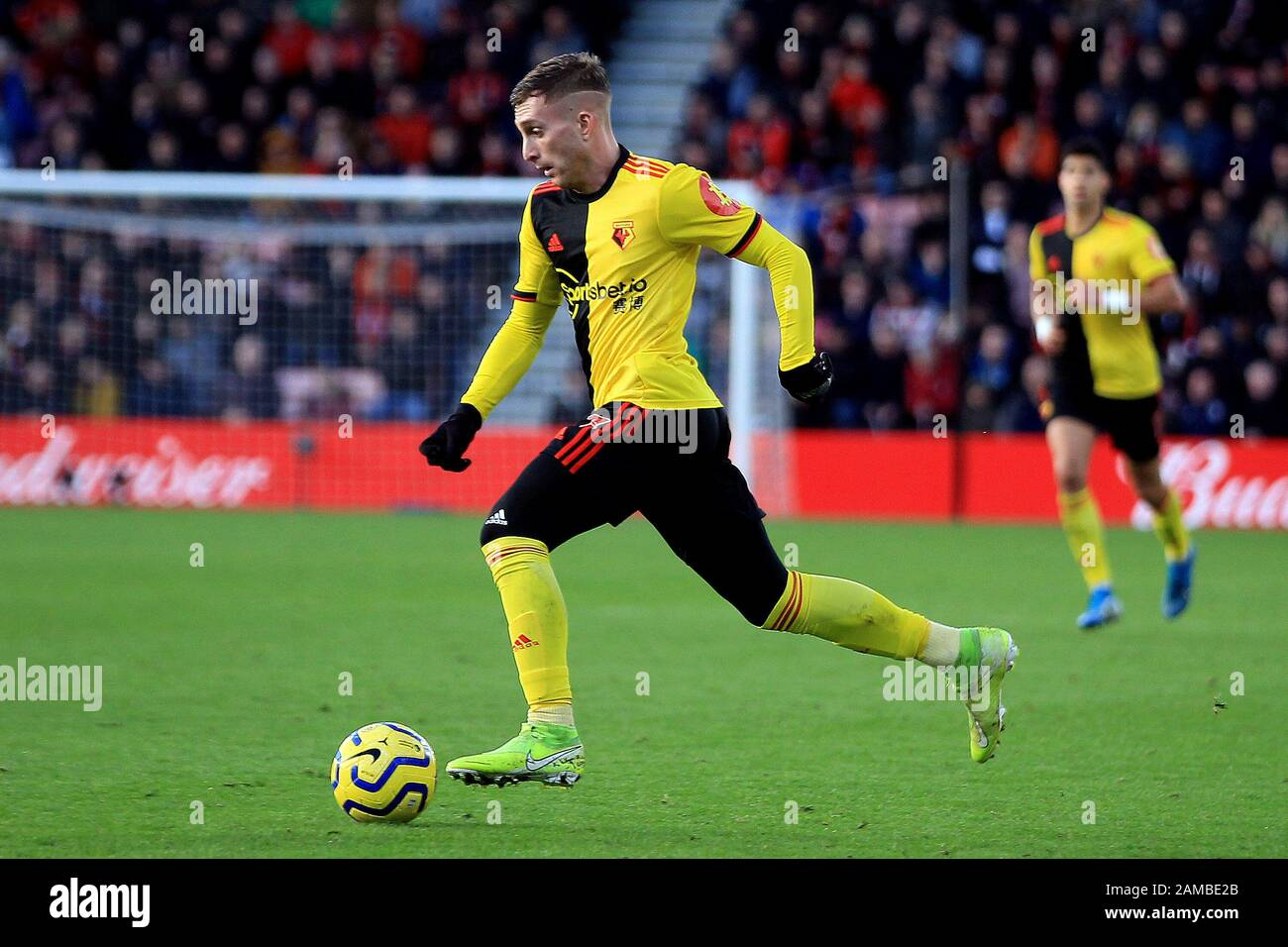 Bournemouth, UK. 12th Jan, 2020. Gerard Deulofeu of Watford in action. Premier League match, AFC Bournemouth v Watford at the Vitality Stadium in Bournemouth, Dorset on Sunday 12th January 2020. this image may only be used for Editorial purposes. Editorial use only, license required for commercial use. No use in betting, games or a single club/league/player publications. pic by Steffan Bowen/ Credit: Andrew Orchard sports photography/Alamy Live News Stock Photo
