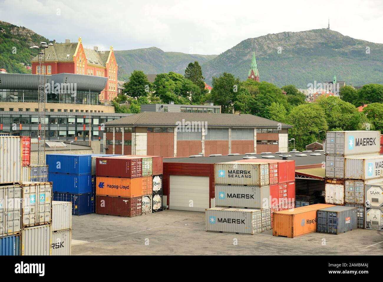 Shipping containers on the dockside at Bergen. Stock Photo