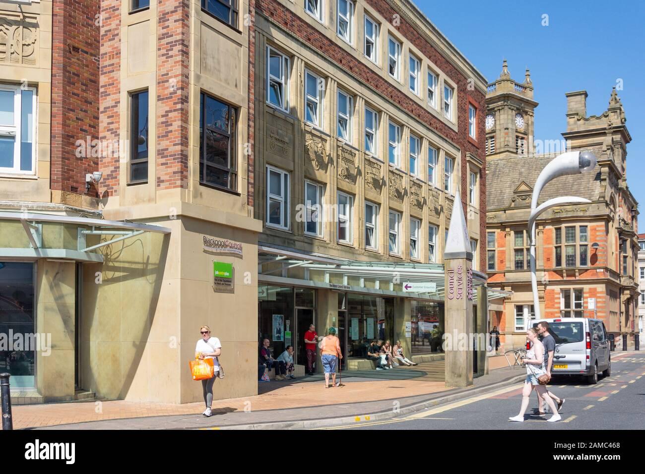 Blackpool Jobcentre, Blackpool Council Services, Municipal Buildings, Corporation Street, Blackpool, Lancashire, England, United Kingdom Stock Photo