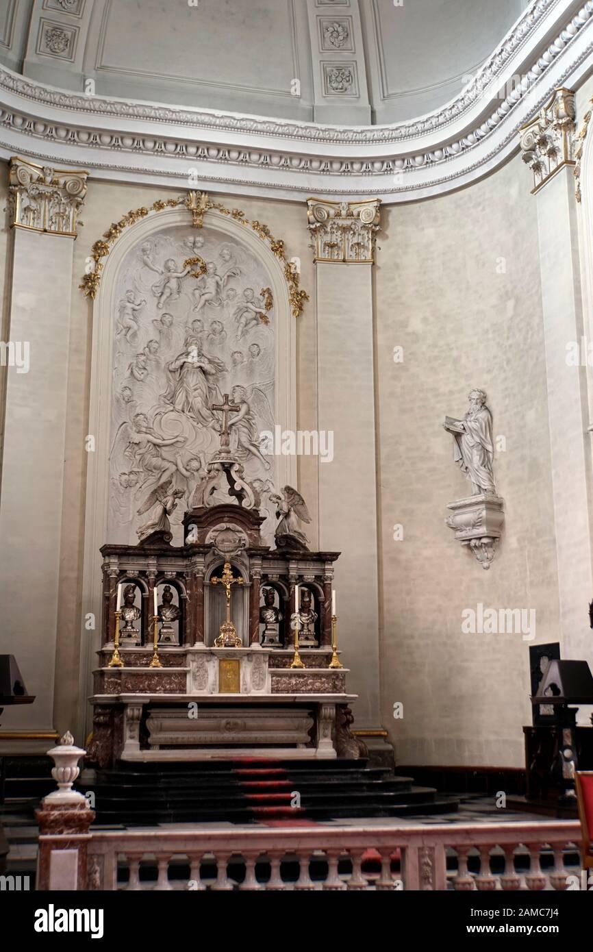 St. Peter, Paul und Quirinius Kathedrale,  Malmedy, Provinz Lüttich, Belgien Stock Photo