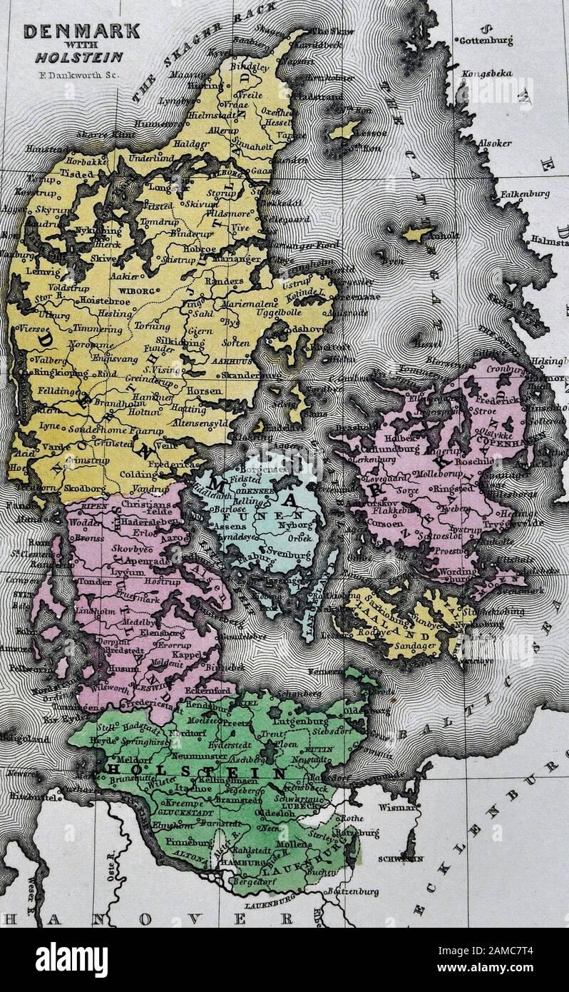 ANTIQUE MAP of DENMARK Antique Wall Art Denmark Map 1799 Danish Travel Print