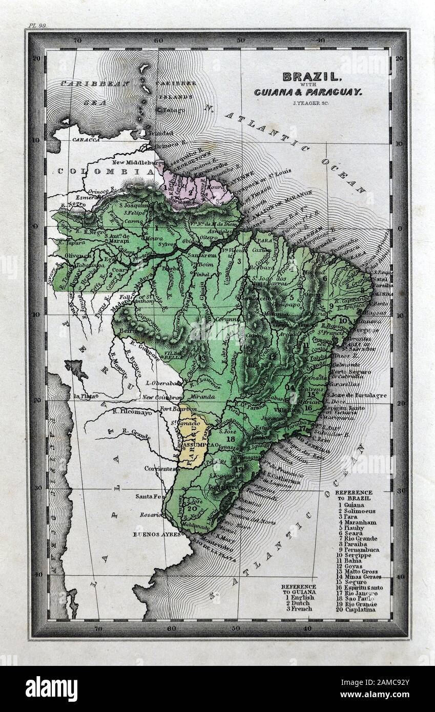 British Guiana Guyana 1885 old antique map plan chart Guyana Janjanbureh