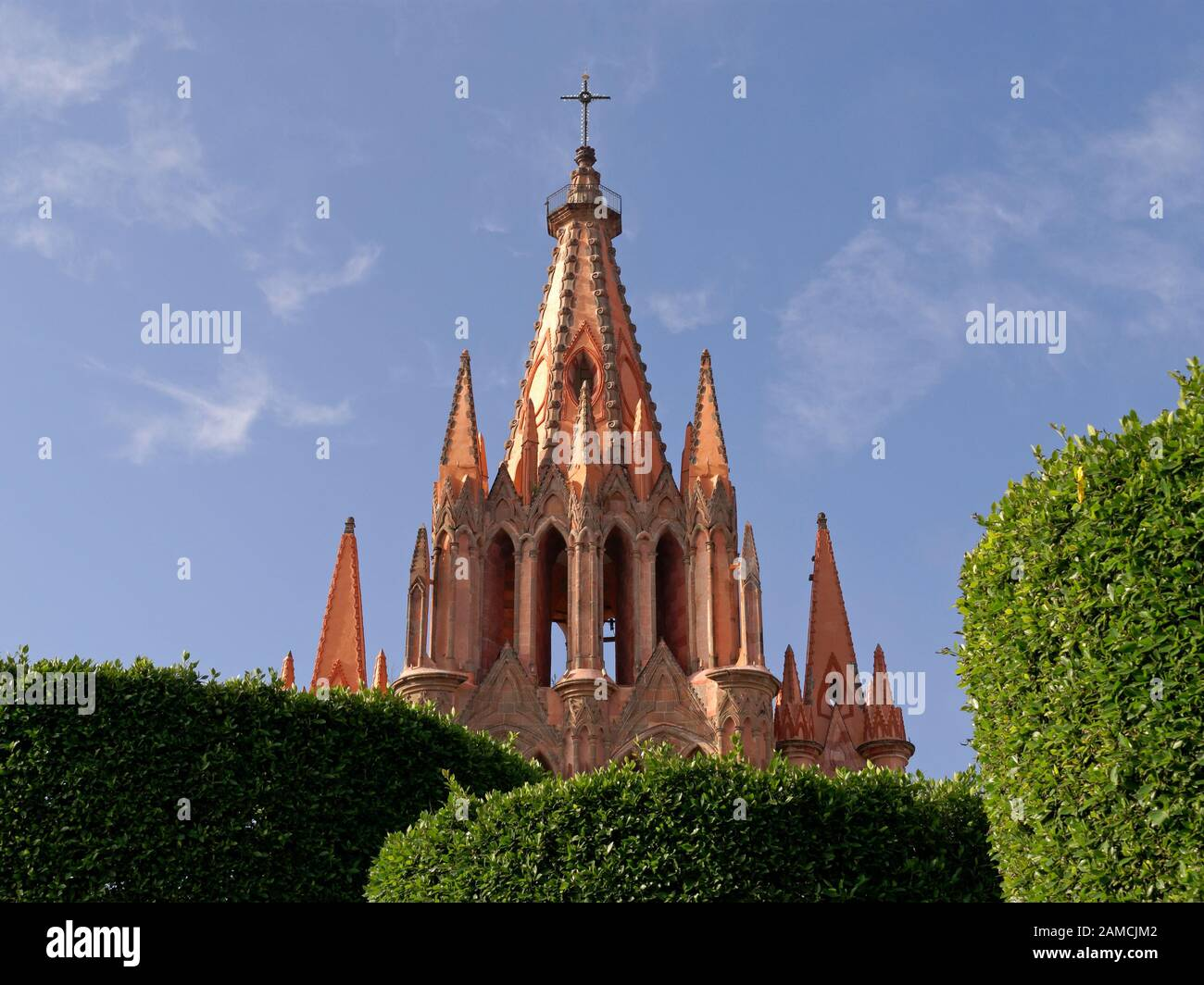 Steeple of the Parroquia de San Miguel Acangel parish church, San Miguel de Allende, Guanajuato, Mexico. Stock Photo