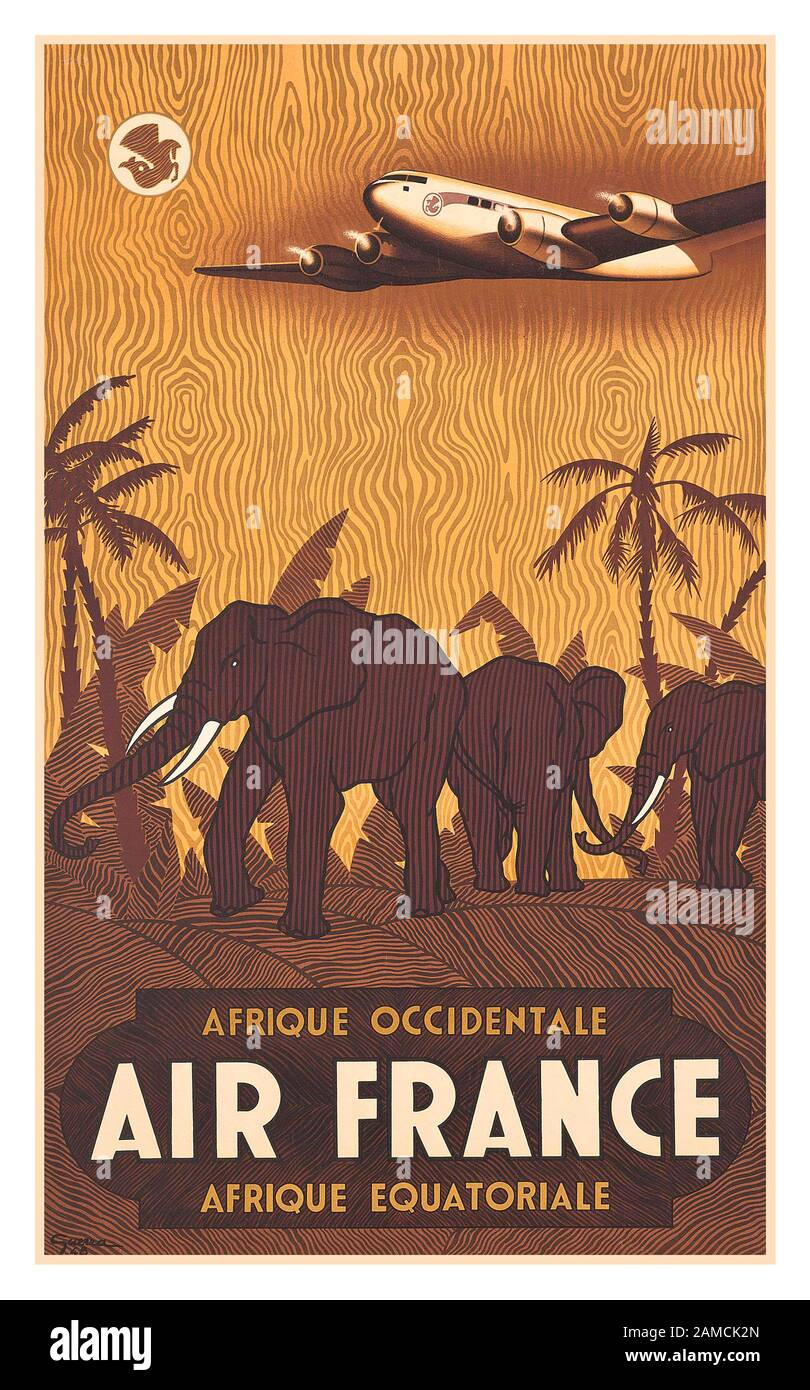 Air Afrique 2 Vintage Airline Advert Print Colourful Photo Retro Poster