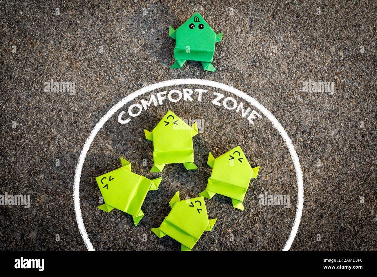 Exit from the comfort zone concept Stock Photo