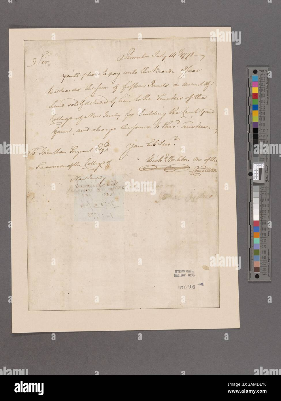 Stockton, Richard Princeton To Jonathan Sergeant  Digitization was made possible by a lead gift from The Polonsky Foundation.; Stockton, Richard. Princeton. To Jonathan Sergeant Stock Photo