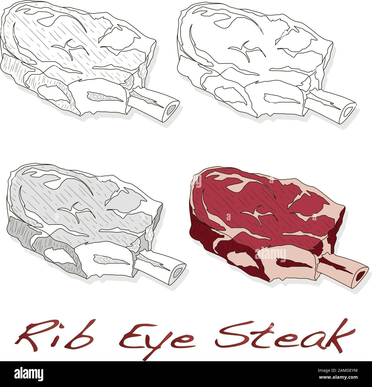 Steak illustration set. Vector images of steaks in different grafic styles, isolated on white background Stock Vector
